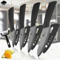 "Cuchillos de cocina cuchillo de cerámica 3 ""4"" 5 ""6"" pulgadas Zirconia cuchillo japonés hoja negra Paring fruta juego de cuchillos de cerámica para Chef"