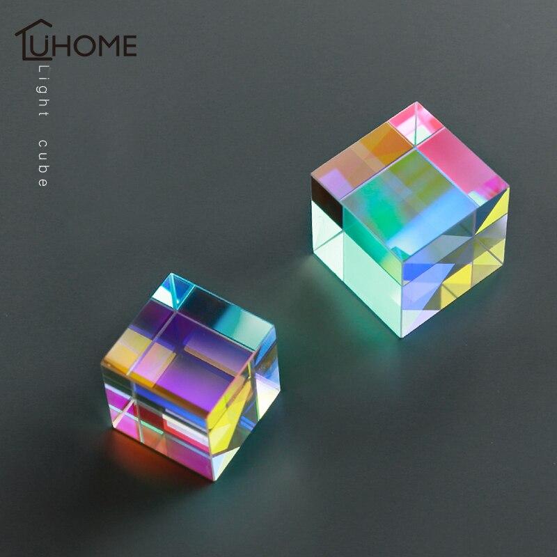 Радужный светящийся призма, шестисторонний яркий куб, профессиональный магический куб, подарки, Обучающие игрушки, для дома, Вечерние Декорации, реквизит для фотосъемки