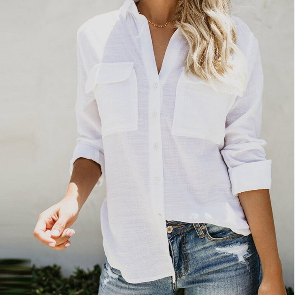 2019 Cotton Linen Women Blouses Solid Loose Tops White Plain Long Sleeve Shirt Button Casual V Neck Female Blouse Plain Top H30