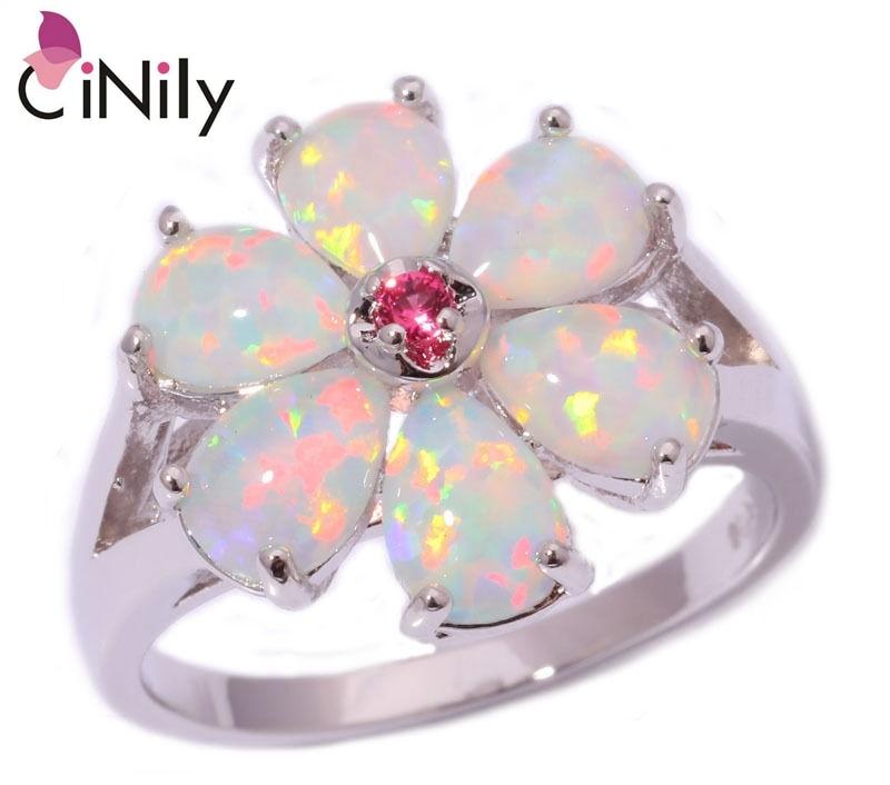 Prix pour CiNily Créé Blanc Opale de Feu Kunzite Argent Plaqué En Gros Fleur pour Femmes Bijoux De Mode Cadeau Anneau Taille 6-12 OJ6194