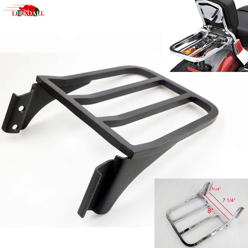 Motorcycle Sissy Bar Backrest Luggage Rack For Harley Sportster XL 04-17 Dyna 06-17 Softail 84-05 FLST FLSTC FLSTSC 06-17,Black
