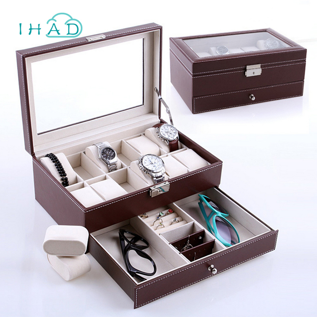 Genial High Grade Watch Storage Box With Double Layer For Watches Jewelry Box  Leather Organizer