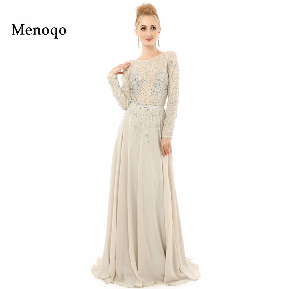 A Line Long Sleeve Applique Chiffon Floor Length Backless Special Occasion Long Evening Dress Actual Pictures