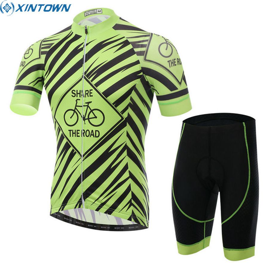 ФОТО XINTOWN Men Pro Team Summer Breathable Cycling Jersey Bicycle Short Sleeve Racing Padded Shorts Suit Set Green