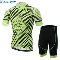 XINTOWN Men Pro Team Summer Breathable Cycling Jersey Bicycle Short Sleeve Racing Padded Shorts Suit Set Green