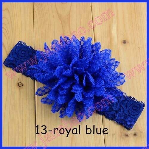 free shipping 150pcs 4.5'' chiffon hair flower lace elastic headbands big chiffon bows headbands