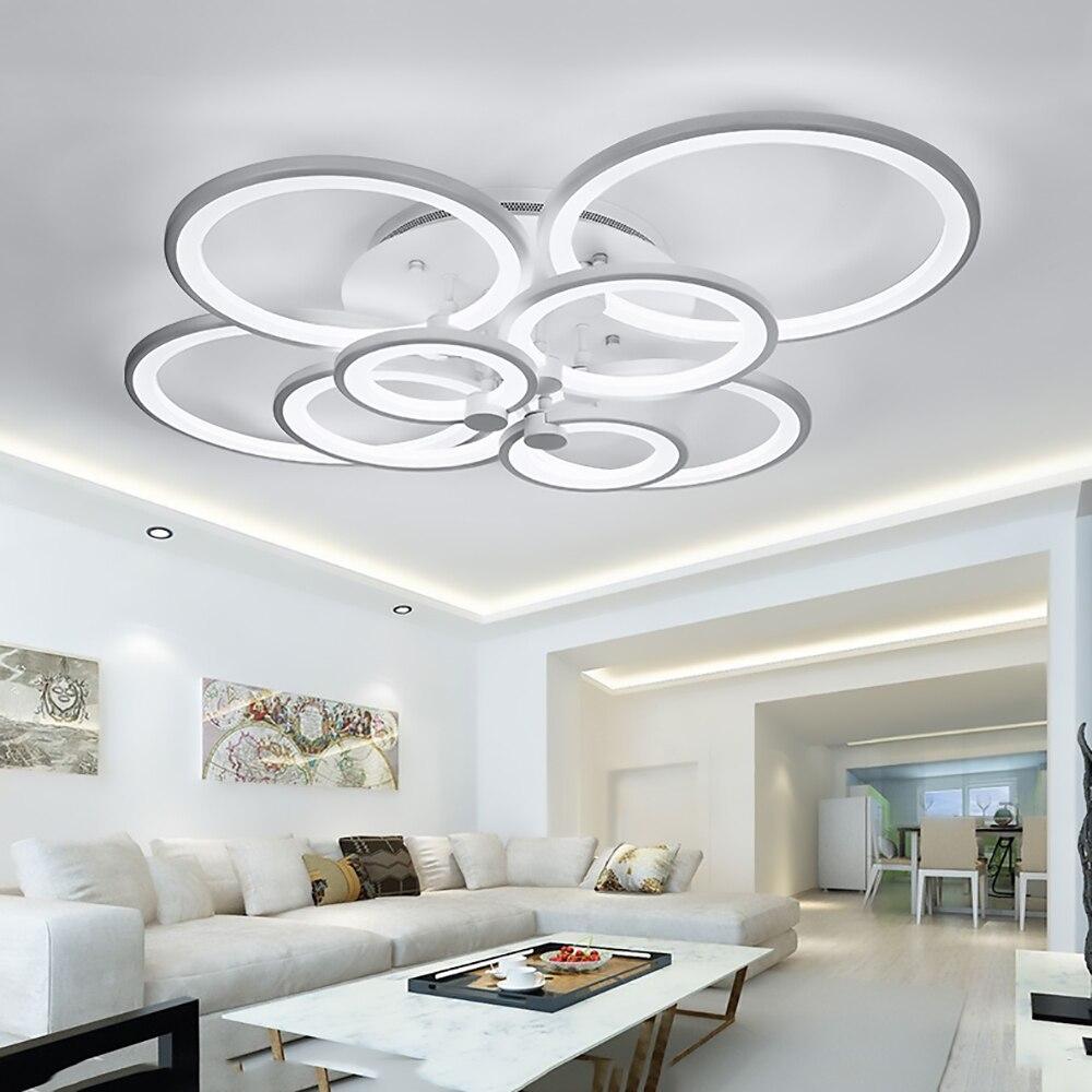FULOC Black/White Finished LED Circle Modern Chandelier Lights For ...