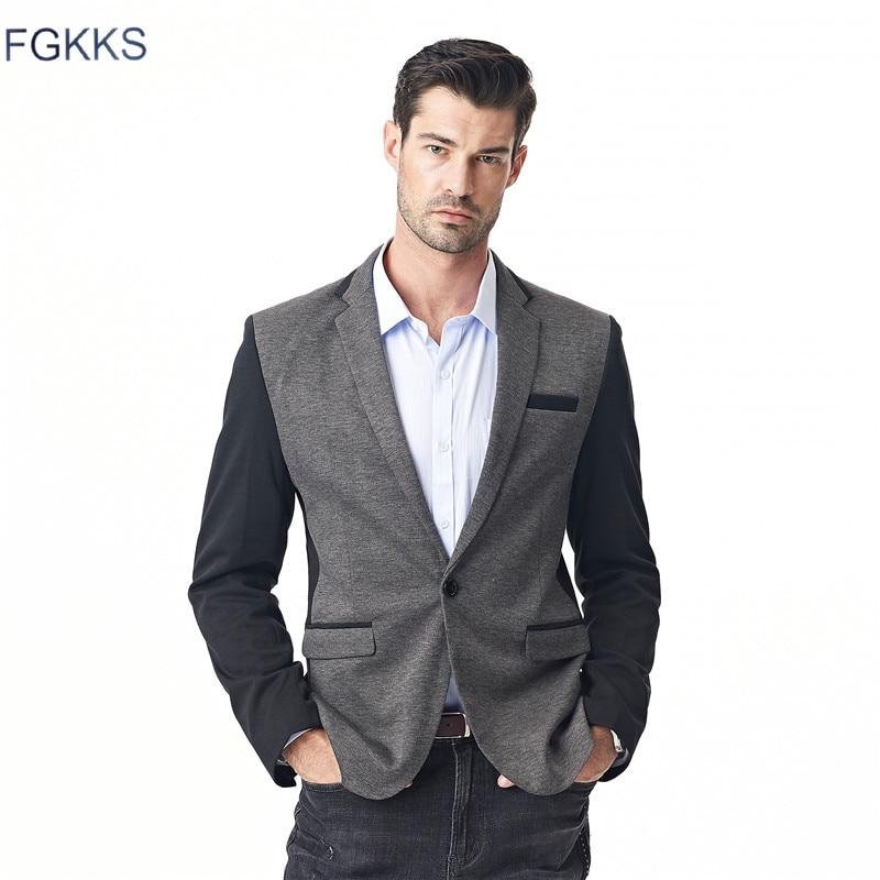 FGKKS 2017 New Blazer Mens Casual Jacket Single Button ...