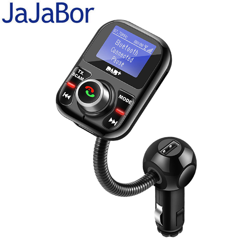 JaJaBor Car DAB Digital Radio In-car with FM Transmitter Bluetooth Handsfree Kit Digital Audio Broadcast Support Folder Playback dab dab car radio adapter dab transmitter digital radio with fm transmitter bluetooth handsfree aux connection 5v 3 1a