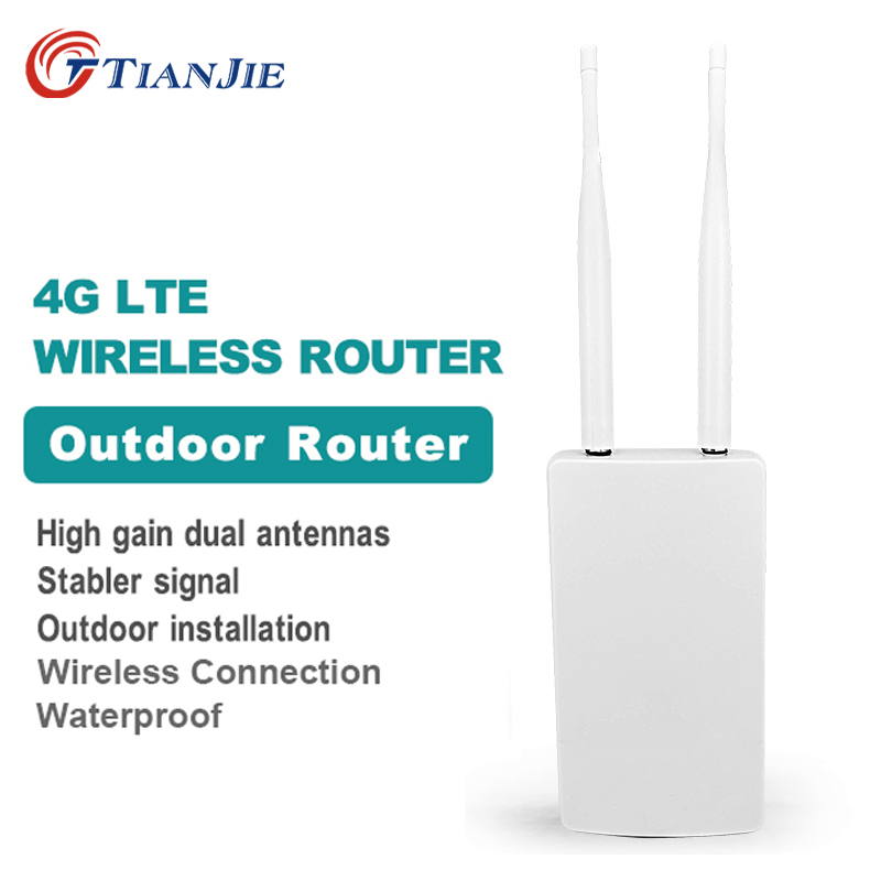 TIANJIE Waterproof Outdoor 4G CPE Router 150Mbps CAT4 LTE Routers 3G/4G SIM Card WiFi Router For IP Camera/Outside WiFi Coverage