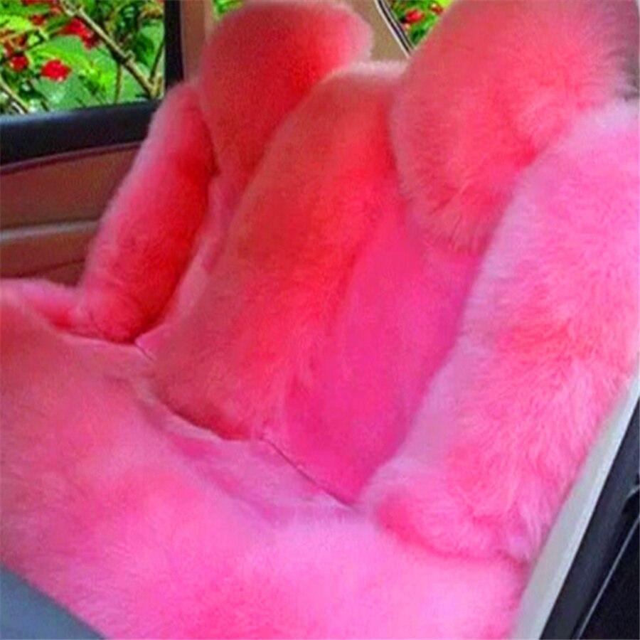2 Pcs Pink Genuine Australian Sheepskin Car Automobile Front Seat Covers Cushion