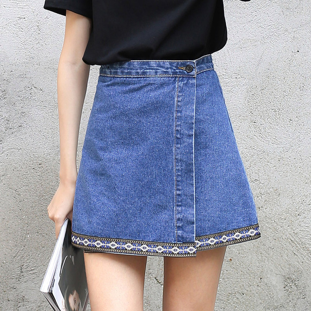 f4578b5f206 Yichaoyiliang High Waist Denim Skirts Embroidery A-line Mini Skirts Summer  2018 New Preppy Style Casual Short Skirts Jeans Skirt