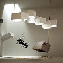 ما بعد الحداثة ماجيك كيوب تصميم قلادة Led ضوء الإبداعية الفن معرض عشاء غرفة المعيشة Led نجف يُعلق بالسقف تركيبات