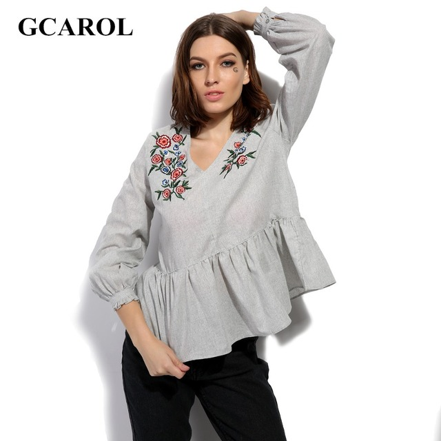 GCAROL 2017 Women V-Neck Embroidery Floral Blouse Ruffles Peplum Tops Fashion High Quality Cotton Linen Tunic For 4 Season