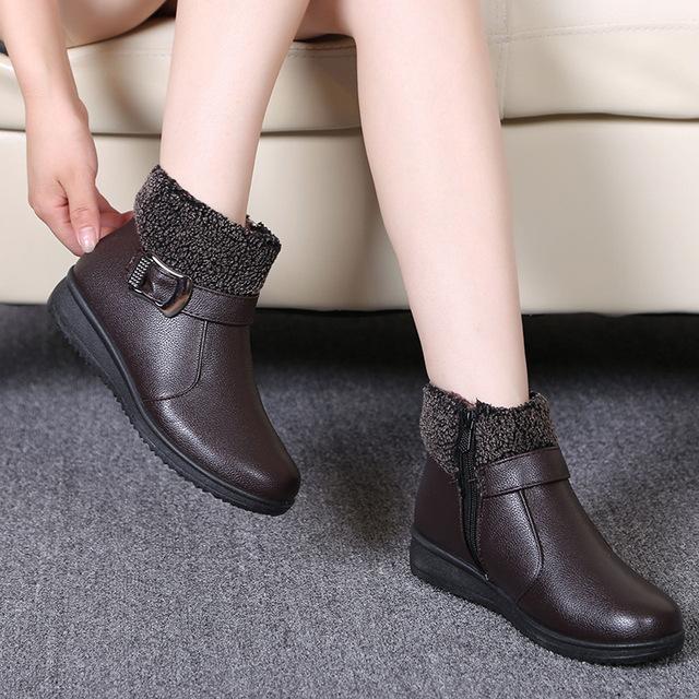 Mulheres Botas Femininas de Inverno Botas Zip Tornozelo Botas Sapatos Mulher de Pele De Couro À Prova D' Água Quente Botas de Neve Senhoras Botas Mujer Tamanho 35-40