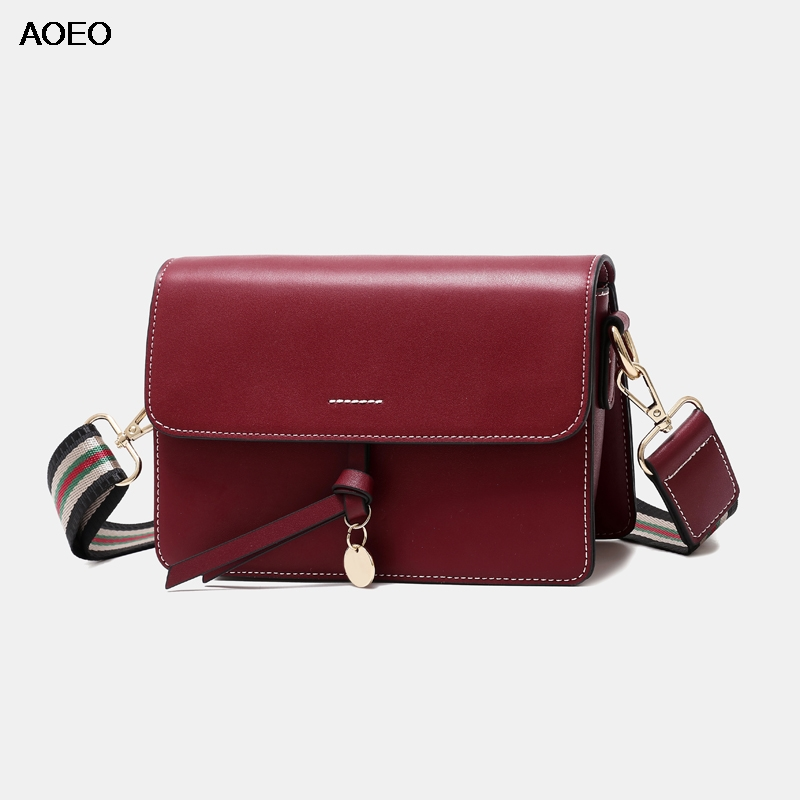 AOEO Women Crossbody Bag Split Leather Wide Strap Glitter Round Metal Ladies Korean Bag High Quality