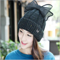 2016 Fashion New line from M Small Cap Standard Three-dimensional Flower Woolen Yarn Bow Warm Hat Ms. Autumn Winter Knitted hat