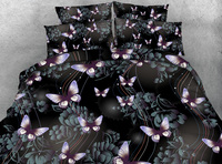 3D Printed Comforter Bedding Sets Twin Full Queen Super Cal King Size Bed Duvet Covers Bedclothes Butterfly Floral Purple Girls