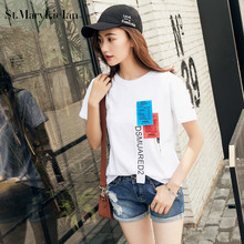 St.MaryLiclan Women T Shirts Short Sleeve Cotton Casual T-Shirts Female printed letter Hole tops tee lady