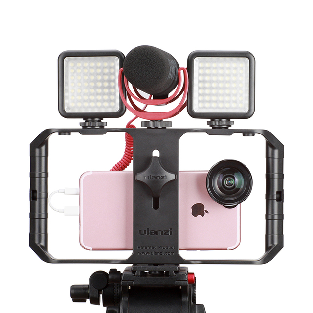 Ulanzi Smartphone Camera Video Gear Setup Handheld Video Rig+Recording microphone,LED video lamp for iPhone 8 Mobile Filmmaking 3