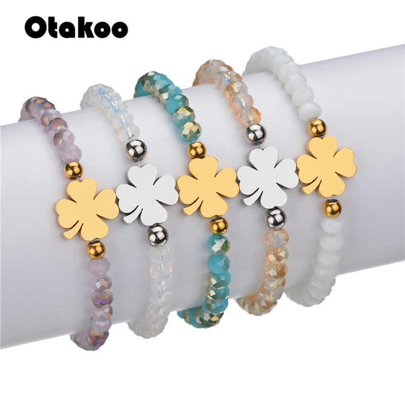Otakoo Bead Bracelets Silver Gold Stainless Steel Fashion Jewelry Lady Girl Clover Charm Wristband Charm Bracelet For Women