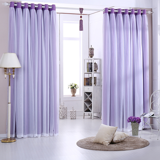 Window Solid Double Layer Shade Hook Eyelets Curtains For Living Room Cloth Curtain Voile Sheer