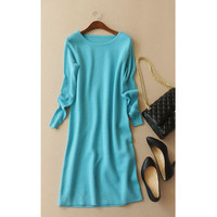 Thread Knit Sleeve 100 Cashmere Women S Fashion Mid Long Pullover Sweater Dress O Neck S