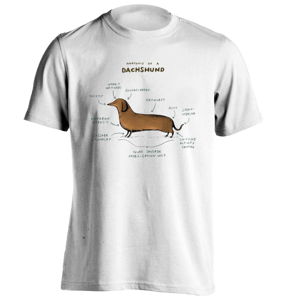 Anatomy of a Dachshund Mens & Womens Funny T Shirts Design Tee-in T ...