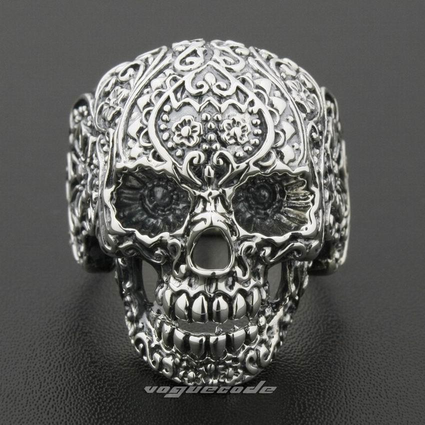 LINSION Solid 925 Sterling Argento Dell'anello Del Cranio Del Mens Motociclista della Roccia Punk di Stile 8V001 Formato DEGLI STATI UNITI 7.5 15-in Anelli da Gioielli e accessori su  Gruppo 2