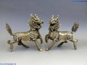 China brass copper Feng Shui lucky Foo Dogs Lion kylin pair Sculpture Statue