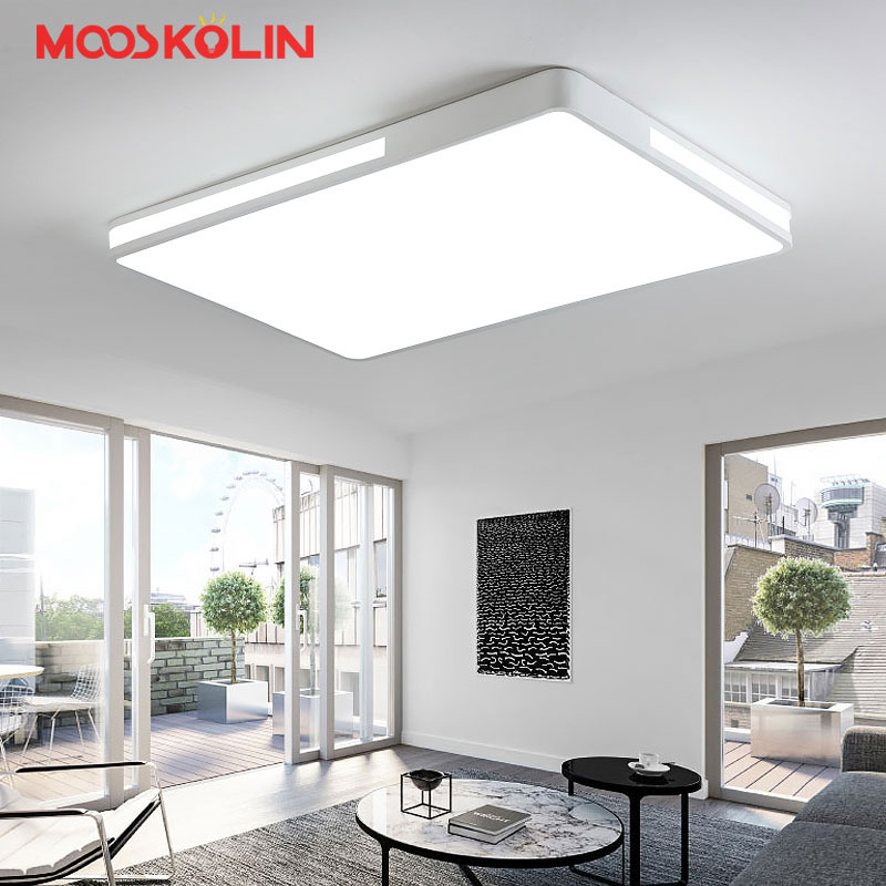 White/Black Minimalism Living Bedroom Kitchen Ceiling Lights Rectangle/Square Modern led Ceiling Lamp Fixtures plafonnier noosion modern led ceiling lamp for bedroom room black and white color with crystal plafon techo iluminacion lustre de plafond