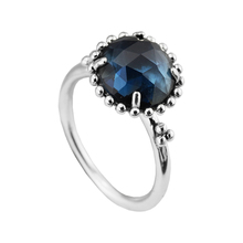 Rings with Midnight Blue Crystal 100% 925 Sterling Silver Fine Jewelry Free Shipping