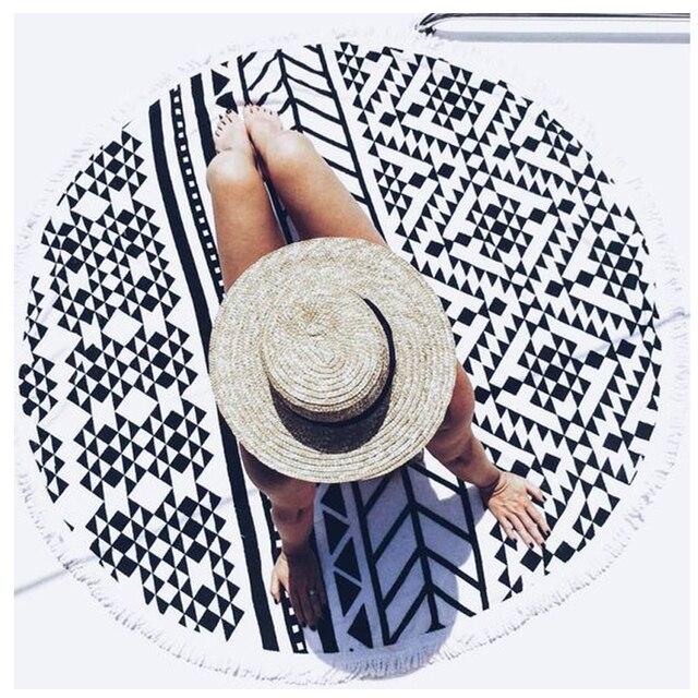 modern style black u0026 white geometric pattern round beach towel 150cm 150cm shawl bath towel