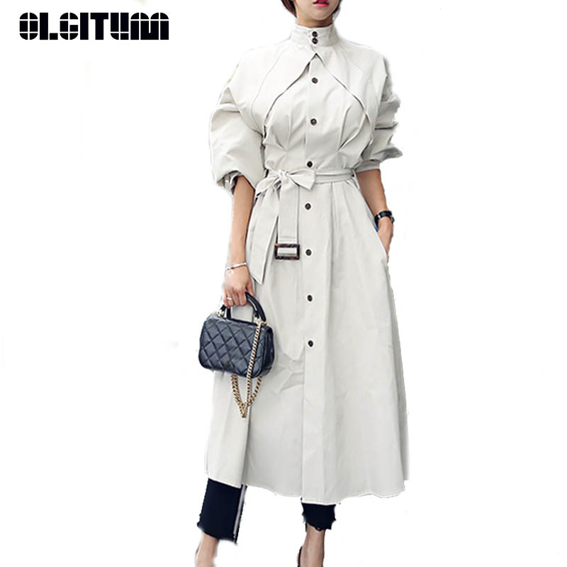 New 2019 Windbreaker Female Spring  Lapel Fashion Single Breasted Waist Dress Dtyle Temperament Long Trench TR144