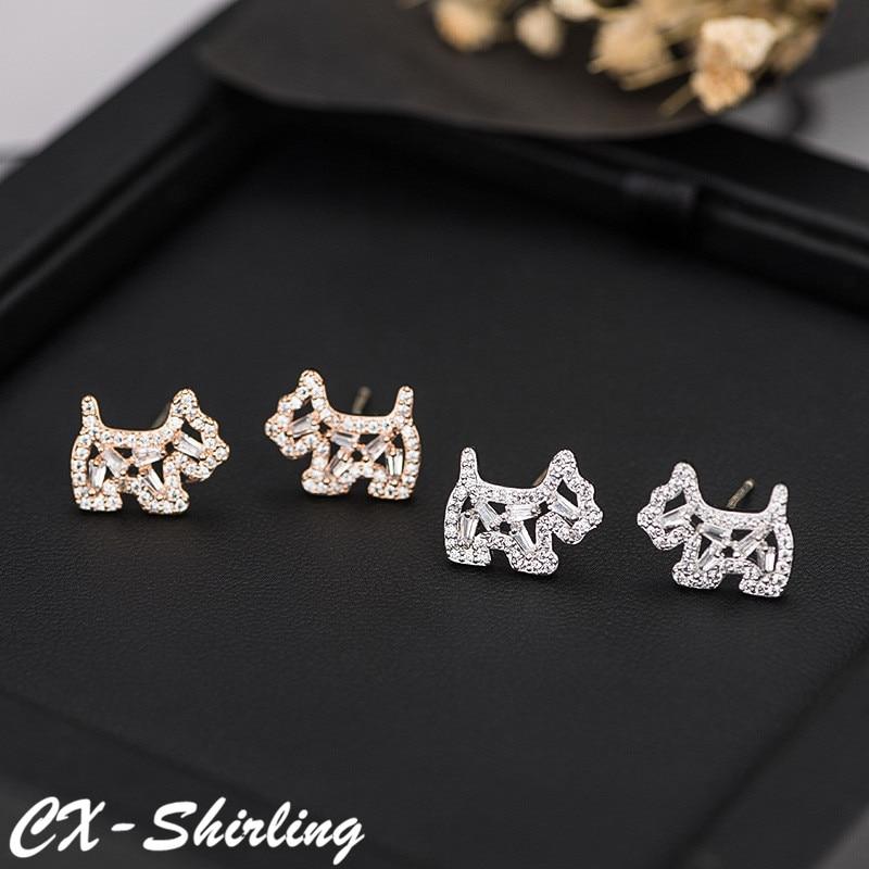CX-Shirling S925 Silver Pin Earring Shiny Zircon Cartoon Dog Earring New Spring Fashion Anti-Allergy Animal Shape Earrings