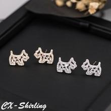 CX-Shirling S925 Silver Pin Earring Shiny Zircon Cartoon Dog New Spring Fashion Anti-Allergy Animal Shape Earrings