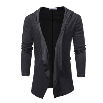 V Neck Collar Long Hoodie Jacket Men Cloak Black Casual