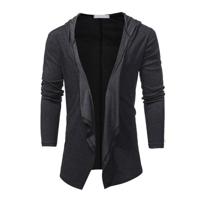 V Neck Collar Long Hoodie Jacket Men Cloak Black Casual