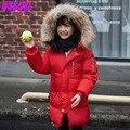 2016 nuevo invierno chaqueta de los niños niños y niñas bebé ropa de abrigo abrigo abrigo de cuello de piel con capucha larga sección más gruesa invierno