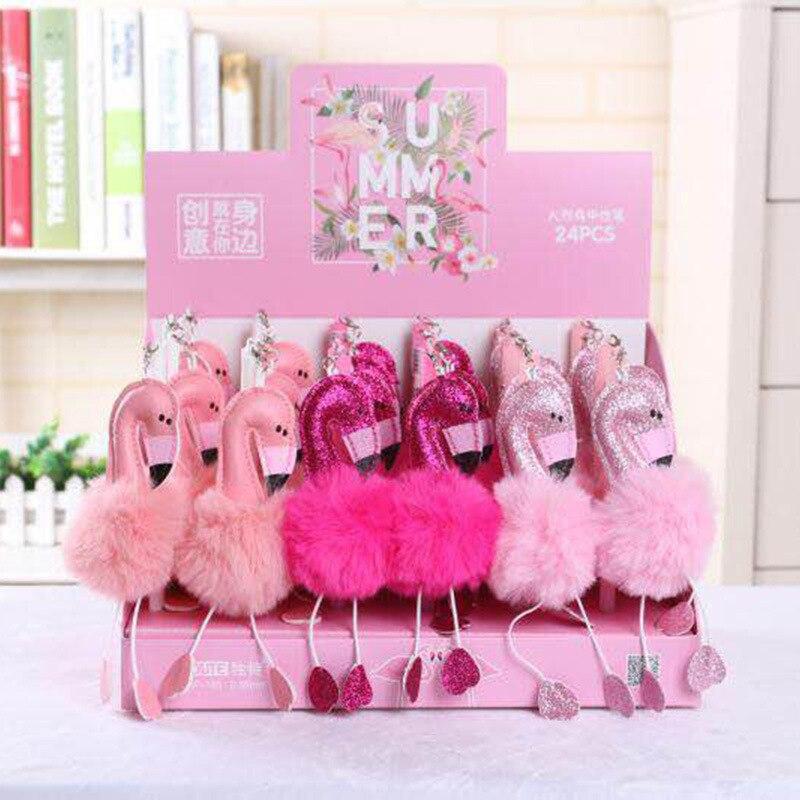 24 pcs/lot Cartoon Flamingo peluche Kawaii Gel-encre stylos Roller-ball stylo créatif papeterie mariage fête d'anniversaire Promotion cadeau