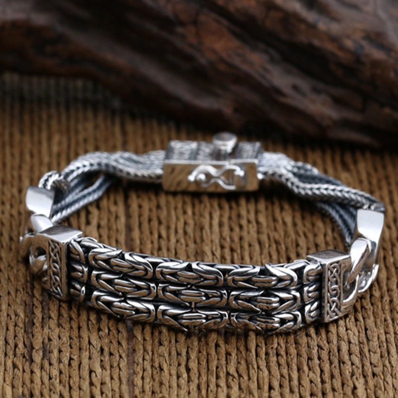 925 Sterling Silver Bracelets for Men Women Vintage S925 Solid Thai Silver Chain Bracelets Fashion Jewelry
