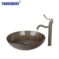 YANKSMART Brown Round Tempered Glass Vessel Sink With Antique Brass Bathroom Faucet And Pop Up Drain