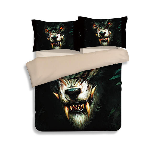 New Custom Made Wolf Bedding Set Painting Duvet Cover With Pillowcases Twill Cool Bed