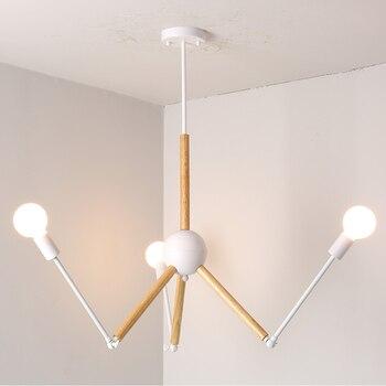 Modern Nordic Design E27 Black White Wood Led Chandelier Lighting Fixtures for Home Loft Staircase Living Room Bedroom Lamp