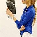 Мода 2016 Лето Плюс Размер XXXXL Однобортный Твердые Шифон Топы Blusas Женской Одежды Свободно Случайные Офис Блузка 5XL 6XL