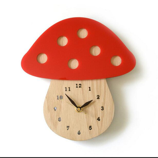 PINJEAS Eco-friendly Forest MushroomDecorations Wall Wood Clocks Cretive Home Decor Office/Kids Room Mural Digital Wall Clock
