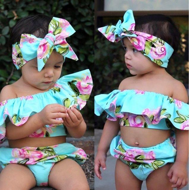 Baby Girl Roupas de verão Fora Do Ombro Plissado Floral Tops + Shorts Sunsuit Roupa Set