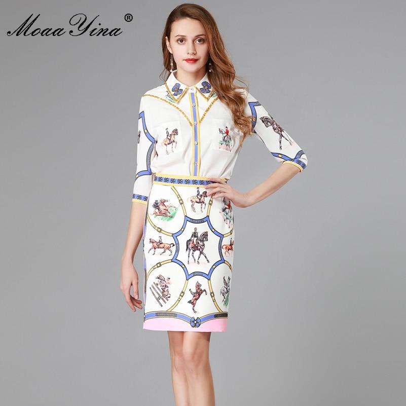 MoaaYina Spring Summe Set Women s Half sleeve Turn down Collar Beading Print Elegant Shirt Tops