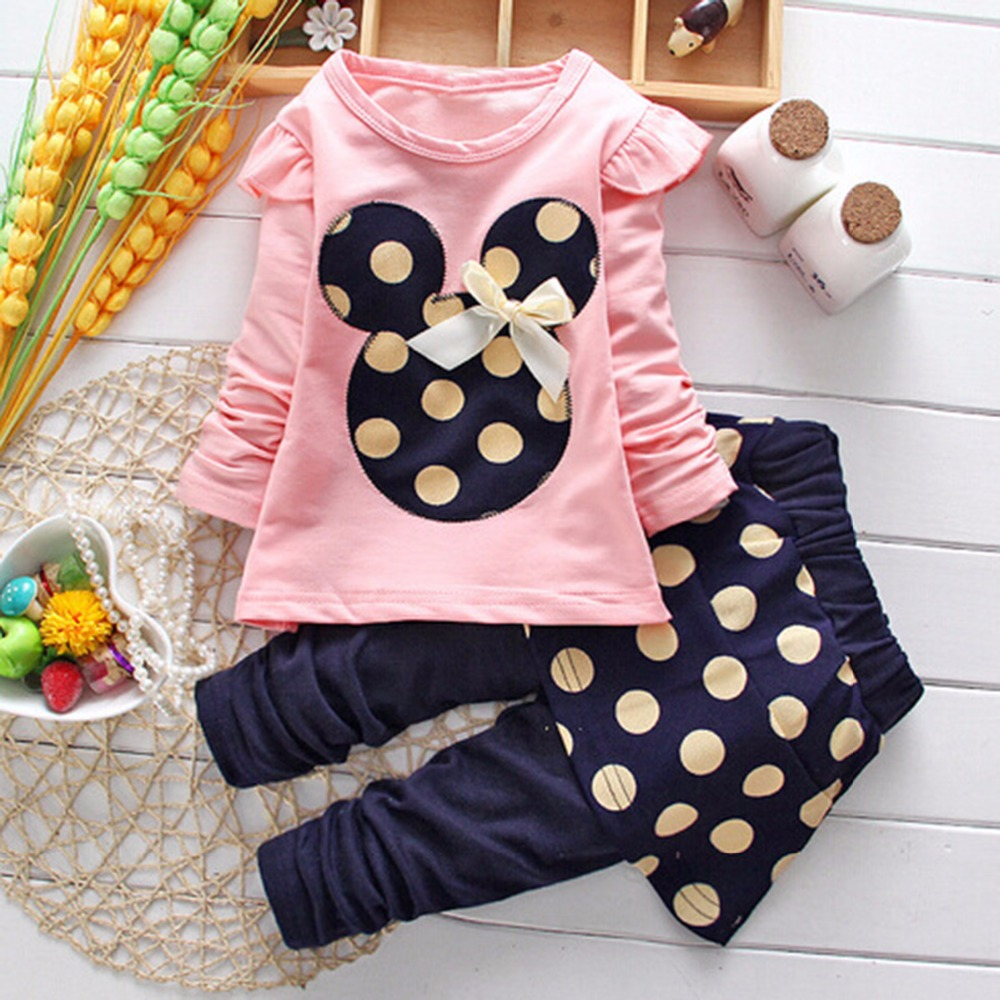 Puseky 2017 Autum Kids Baby Cartoon Minnie Dot Mouse Dress Toddler Girls 2 Pcs Tops +Pantskirt 3 Colors Outfits Clothes 1-5Y girls baby long sleeve tops t shirt bib cartoon minnie 2pcs outfits set 1 5y