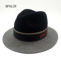 QPALCR Fashion Spring Wide Brim Vintage Wool Felt Hats Women Fedora Men Felt Hat Jazz Hats Sombrero Chapeau Femme